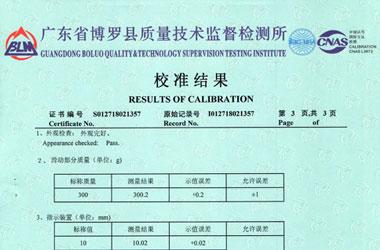 力学仪器检定证书报告结果页图片
