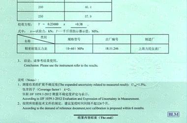 千斤顶检定校准证书报告结果页图片